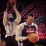 RT @HoustonRockets: .@JHarden13 & @DwightHoward getting work in before game 2. http://t.co/KNNSkcO5Kd