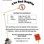 Bed Bug Info Session, Fri May 23/14 at The Victoria Hills Community Centre #kitchener 9:30am to 12pm cc:@Carizon http://t.co/4ydwjSuNHI