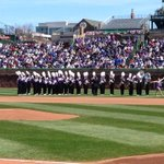 RT @DannyEcker: NU Marching Band takes the field here at #Wrigley100 http://t.co/LIkTVXFDoF