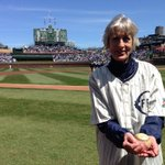 RT @Cubs: Sue Quigg, grandniece of Charles Weeghman, prepares to throw the 1st pitch with a 100-year-old ball. #WrigleyField100 http://t.co/b0DqaijZbg