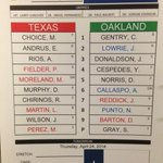 Todays lineup for the day game in Oakland. First pitch is at 2:35 pm CT. #LetsGoRangers http://t.co/0E2eHDtPgq