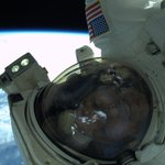 RT @AstroRM: An EVA selfie. The space suit makes it very difficult to get a good selfie. I tried several today. http://t.co/GvMEOj3ewu