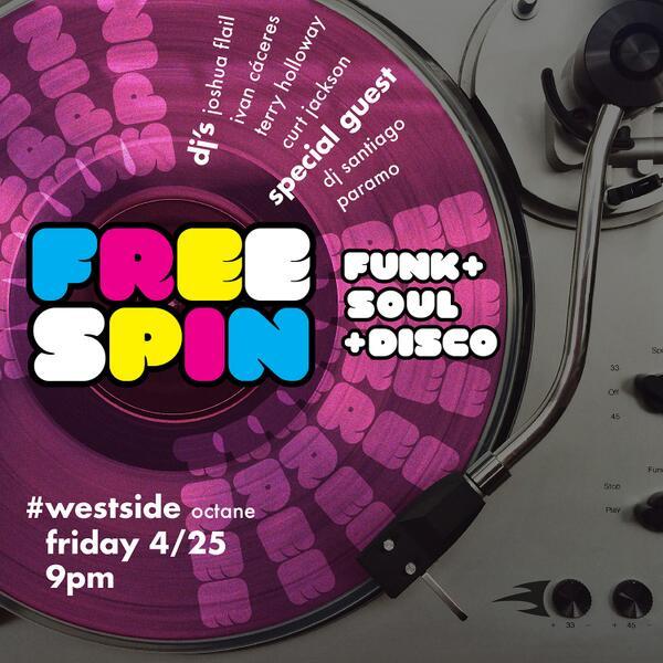 THIS FRIDAY 4/25 @FREESPIN_ATL! @octanecoffee #westside - no cover / all vinyl + guest DJ Santiago Paramo! http://t.co/3QGxL0J8oT
