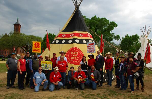 #CowboyIndianAlliance with @sierraclub's @bruneski at the #RejectAndProtect #NoKXL tipi encampment on the mall in #DC http://t.co/ksHpXnd19h