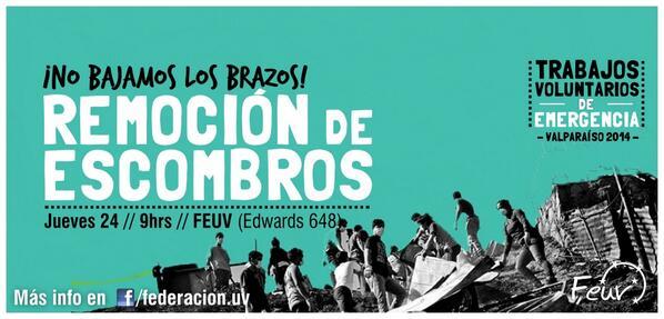 ¡NO BAJAMOS LOS BRAZOS! Seguimos con la remoción de escombros Jue24 9hrs en @Feuv. RT RT RT @uvalpochile @TeAmoValpo http://t.co/BNzwnnBBHl