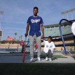 Now warming up for the @Dodgers at Chavez Ravine: @NickSwagyPYoung & @JrFarmar. Throwing out the 1st pitch tonight. http://t.co/oDNKgZmWw4