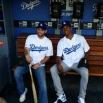 Farmar & Swaggy in #Dodgers dugout. Both throwing out 1st pitch http://t.co/Vj5an9sPtj