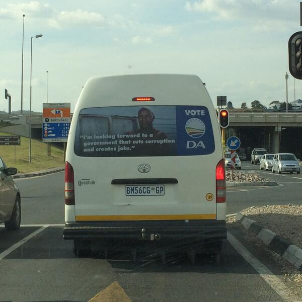 Sign of the times... Spotted this on a minibus taxi @SAVotes2014 http://t.co/47wIyFO95K