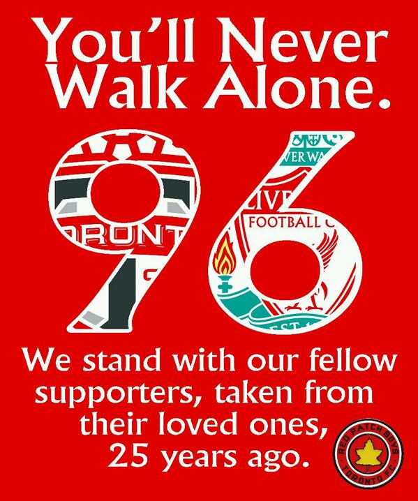 The Red Patch Boys would like to pay our respect. #RPB, #JFT96, #TFCLive http://t.co/fLxNcNkZUW