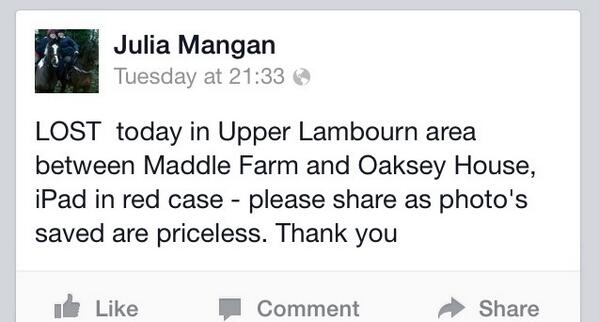 Please help and re-tweet-lost iPad in red case in upper lambourn area http://t.co/sh7ETM4bfR