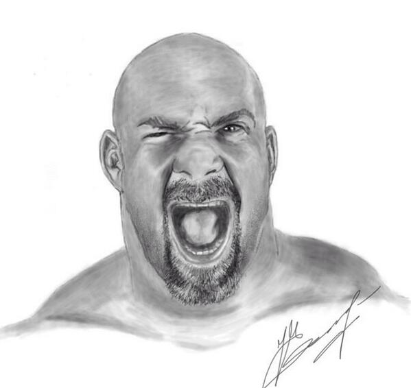 how to draw wwe goldberg step by step
