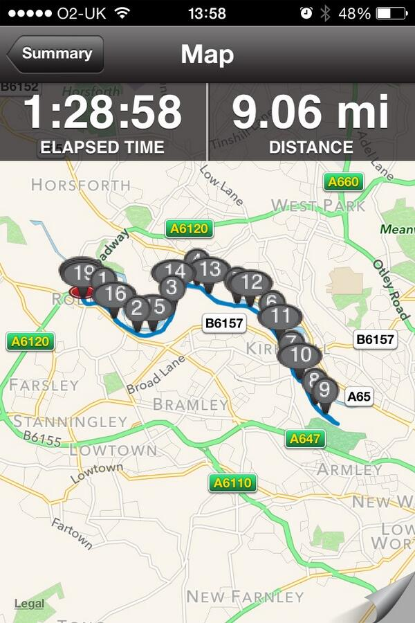 Half marathon training going well... #leedshalf #GNR2014 #playhardtrainharder sub 1.58 target !