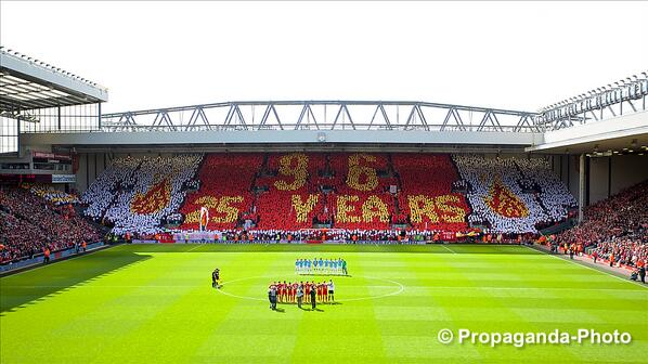 Photo: The @SpionKop1906 create a mosaic to remember the 96 victims of the #Hillsborough disaster. #Kop #LFC #JFT96 http://t.co/fUL1QsihFR