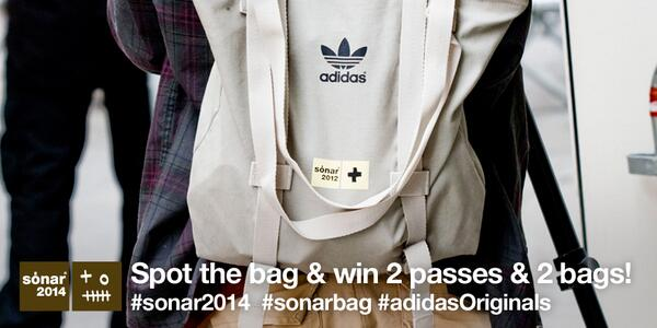Instagram your #adidasOriginals #sonarbag & win 2 passes & 2 bags! Good luck! #sonar2014 http://t.co/X0EWN8tux7 http://t.co/nQwlVd0PSE