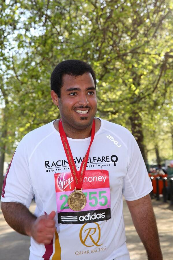 An elated and exhausted Sheikh Fahad after completing the marathon in aid of @Racingwelfare http://t.co/ghRGkmILDo