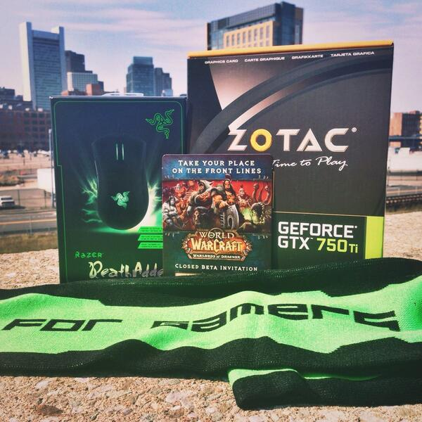 Bonus! RT & follow to enter to win a DeathAdder, GTX 750Ti, & a Warlords of Draenor closed beta code :D #RazerPAX http://t.co/pwl371o489