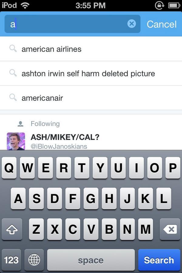 "Jennie's Twitter pic (@Jenniething2) ""Ashton Irwin self harm deleted ..."