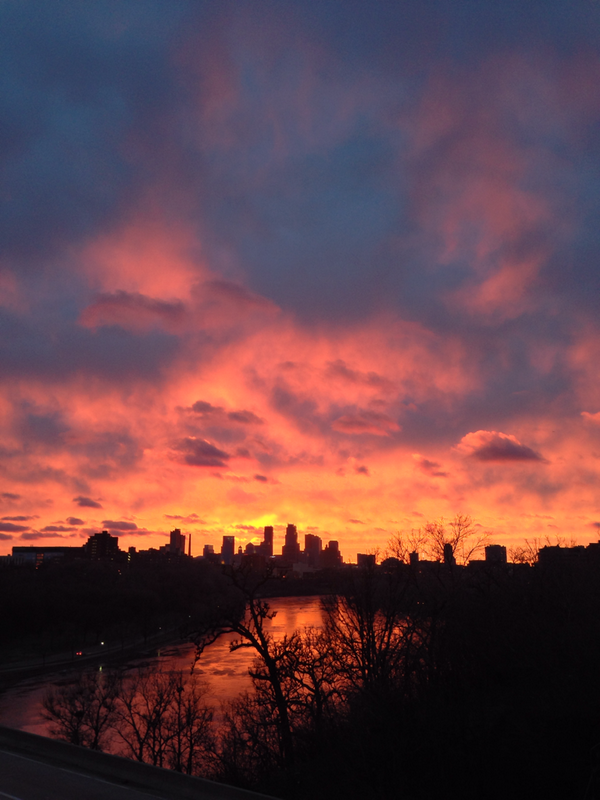 I would've paid some serious change to have a helicopter this evening in Minneapolis at sunset. http://t.co/LSRShCwrqi