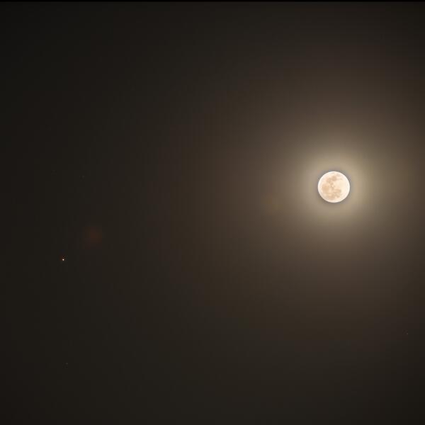 【ほしぞら情報】2年2ヶ月ごとに地球に接近する火星。本日4月14日19時頃、東京の空では明るく輝く月のすぐ隣で見ることができました。今夜は夜空を見上げ、月と火星の共演を楽しましょう。 #国立天文台 http://t.co/ugMWGs2l9m