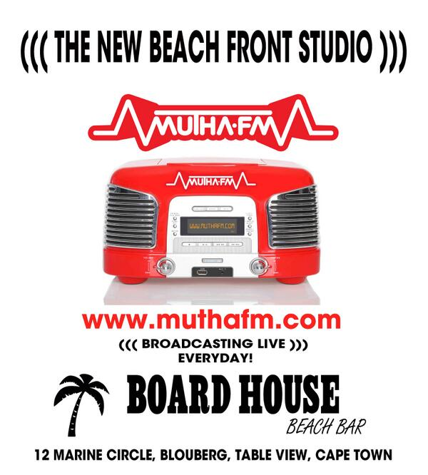 This week @muthafmradio is happy to announce Broadcasting Live for the new beach front studios at The @BoardHouseCPT http://t.co/75cNNvojze