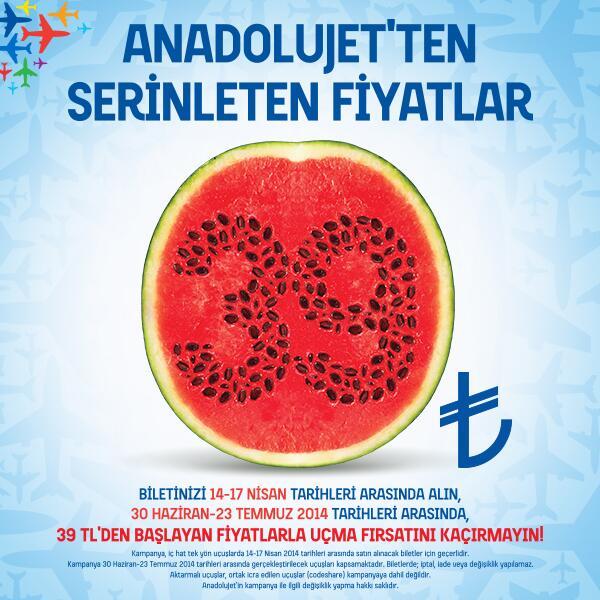 Bu yaz kampanyası kaçmaz! 39 TL'den başlayan, serinleten fiyatlarla uçma şansı AnadoluJet'te. http://t.co/HTvCvTSvJ4 http://t.co/NMrFSnhilU