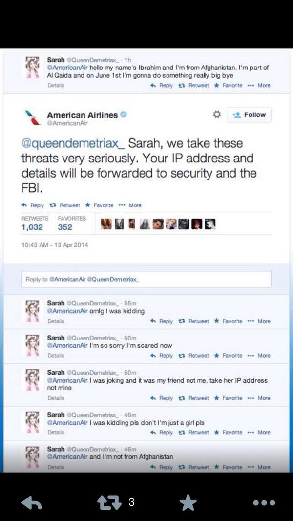 مدحت عامر (@Medhat_Amer): الشرطة الهولندية تلقي القبض على الفتاة التي زعمت انهامن أفغانستان وهددت(مازحة) شركة طيران AmericanAirlines عبر تغريدة http://t.co/zvvFHxMjNS