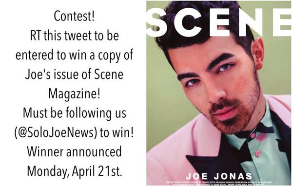CONTEST: RT this tweet to win a copy of @JoeJonas' issue of @scenemag! We'll announce the winner April 21st! http://t.co/uRijwYhCb9