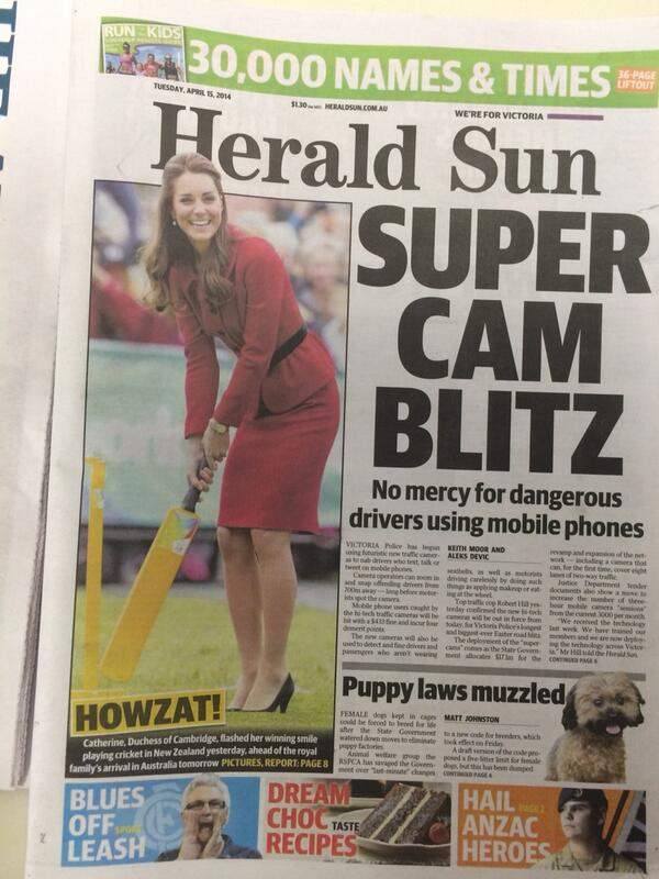 Melbourne. April. Cricket on page one! Love it. (ICC World Cup starts in 10 months as of yesterday) http://t.co/brZruKtSlk