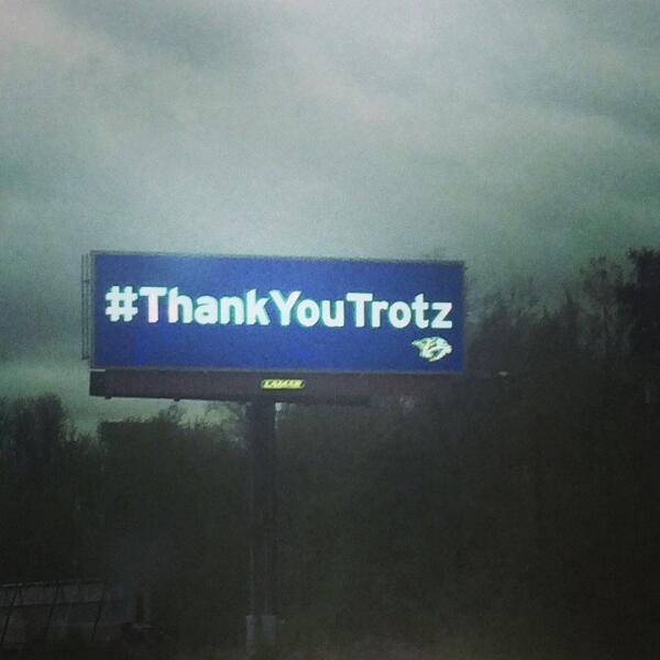 This is outstanding. Nashville, you're the best! RT @mc_staci_: #ThankYouTrotz http://t.co/onbQSLlIrR