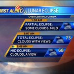 RT @StevenWrites: Lunar Eclipse Tonight Central Florida! Heres the forecast and viewing times from @wesh and @TMainolfiWESH #bloodmoon http://t.co/RD5CmewNPm