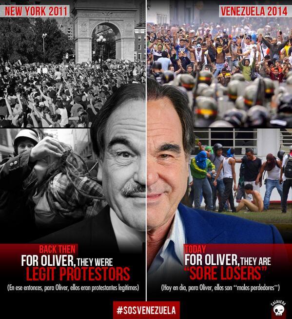 @ranitalios RT @_calavera_: Oliver Stone y su doble cara con las protestas legítimas #SOSVenezuela @TheOliverStone http://t.co/eF39omyvIY
