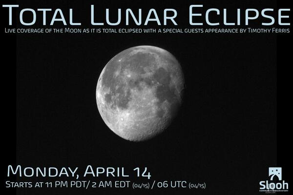 Join us for our live coverage of the Total Lunar Eclipse in just a couple of hours #slooh #LunarEclipse http://t.co/YwcFpTYYI7