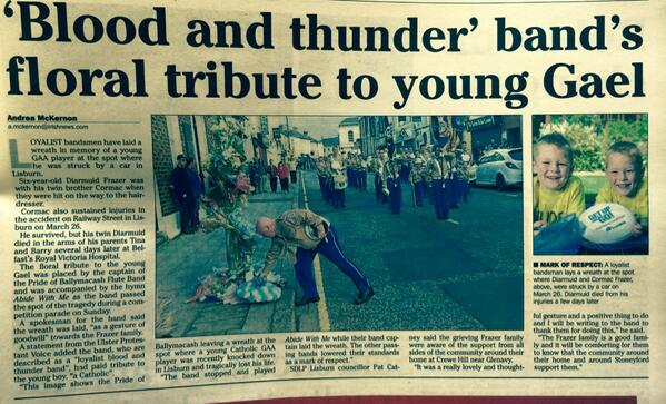 A small gesture means so much. Pride of Ballymacash Flute Band, well done. http://t.co/7PH86oABlJ