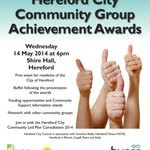 Hereford City Community Group Achievement Awards and the Annual Parish meeting - Wednesday, 14th May at 6pm http://t.co/wWpcIY9mx9