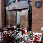 Tributes laid at the Hillsborough memorial at Anfield on the 25th anniversary of the tragedy http://t.co/kWs4pkR7V6