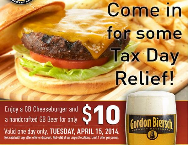 Grab some #TaxDay Relief. GB Cheeseburger + Handcrafted Beer for $10. Today only. http://t.co/5E8xnmfrfF