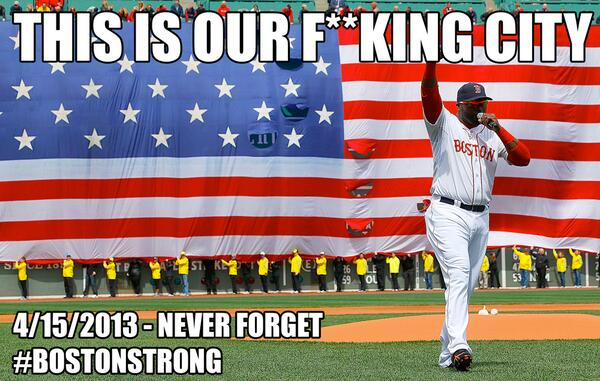 Remembering all the victims, survivors and hero's. This is our F****NG city! #BostonStrong http://t.co/vM0rxmISLl