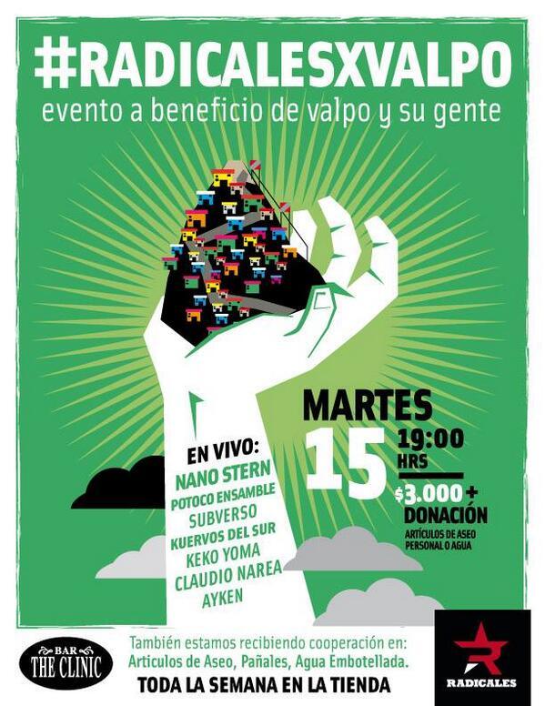 HOY desde las 19 hrs. en @BARTHECLINIC #radicalesxvalpo, evento a beneficio de valpo y su gente. ¡Todos a ayudar! http://t.co/NMu61NCtA9