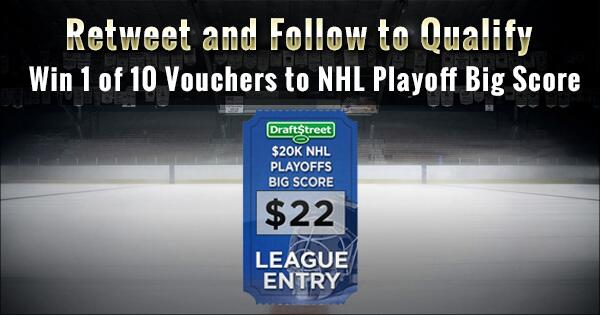Retweet and follow to win 1 of 10 FREE vouchers to our $20,000 #NHL Playoff Contest http://t.co/w5t1pcMbWS $22 value! http://t.co/K0vcEFq2HF
