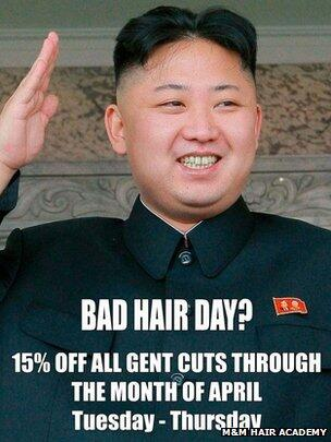 North Korean officials visit Ealing salon over Kim Jong-un 'bad hair' advert http://t.co/vIWNJ8isPr http://t.co/xHI1KICbND