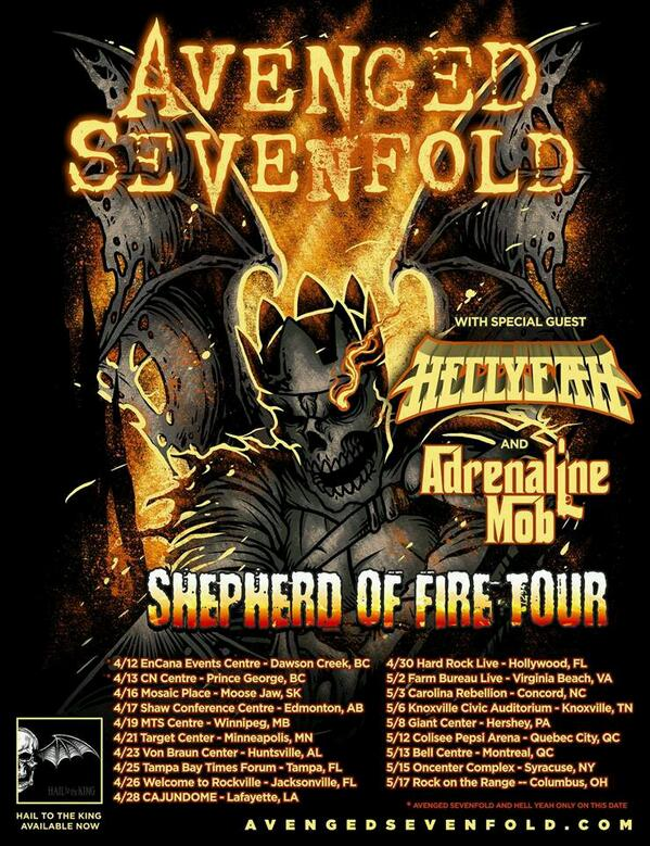 Travel day heading up to Canada to begin the @TheOfficialA7X Shepherd Of Fire Tour w/ @hellyeahband @AdrenalineMob!! http://t.co/9KtoxG9Aoq