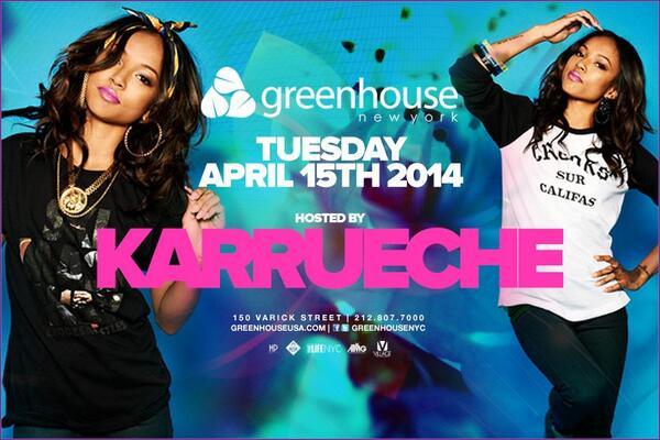 The always fly @karrueche hosts #greenhousetuesdays tonite! S/O @JACOBYORK @JRyanL @Jrosenblum1 @JumpshotJay http://t.co/rbrQCS8ZV1