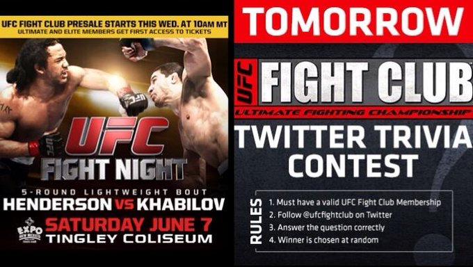 Along with the #UFCFightNight FC presale tmrw, we'll also be doing a Trivia Contest! Codes @ http://t.co/UtG1IGhyVH http://t.co/XQIUV18RmX