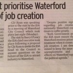 RT @seamusryan1: In @WaterfordNS this week calling for @IDAIRELAND to prioritise #Waterford for job creation http://t.co/zY968NHYDt