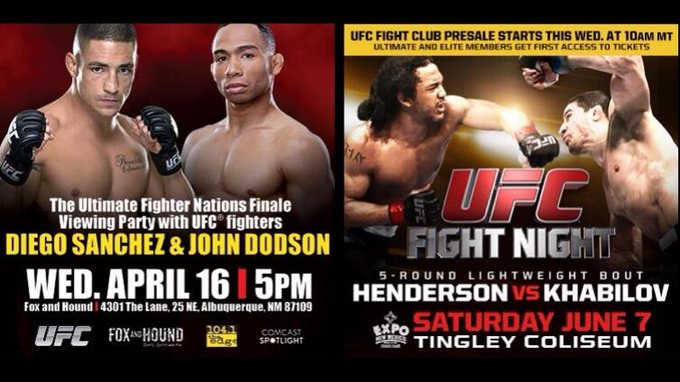 Get your tix to #UFCFightNight tmrw @ 10am MT! In ABQ? Hang out w/ @DiegoSanchezUFC & @JohnDodsonMMA @ Fox and Hound! http://t.co/VBQPFByrak