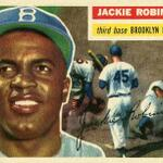 RT @EricStangel: My favorite Jackie Robinson card. 1956 Topps... #JackieRobinsonDay @toppscards http://t.co/lM984tqjKU