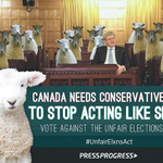So cute, so true. Of all, really. Baaaah! Baaaah! RT @pressprogressca: Baaaaah. #cdnpoli #UnfairElxnsAct http://t.co/NRX4V5mTe3