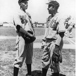 Thank you, Jackie: Satchel Paige & Jackie Robinson in 1945: Wouldnt you love to hear that conversation? #nlbm http://t.co/YA3oPLr5nQ