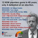 RT @ABCFactCheck: 12 NSW premiers gone in 40 years, only 4 defeated at an election. #nswpol #icac #factcheck http://t.co/Mtut5pBJqG