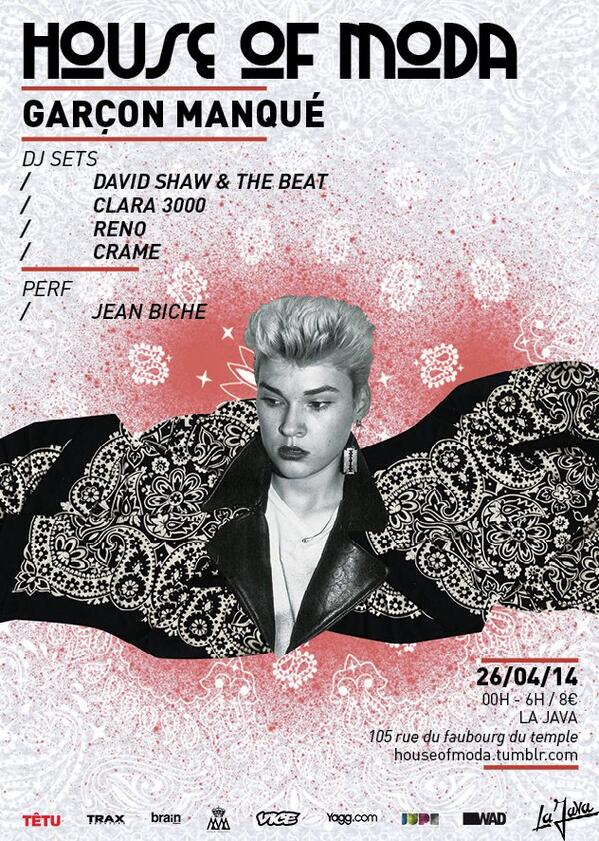 HOUSE OF MODA 26.04.2014 with @DavidShawMusic @Crame_ and Reno at @java_belleville http://t.co/ZYRhMEt9ka